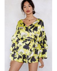Nasty Gal - It's A Ruffle Ride Floral Romper - Lyst