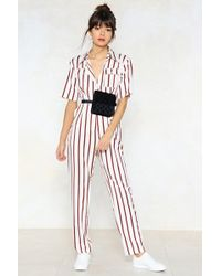 Nasty Gal - You're Just My Stripe Utility Jumpsuit - Lyst