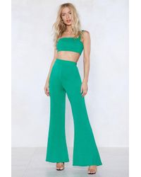 Nasty Gal | In Good Company Crop Top And Flare Trousers Set | Lyst