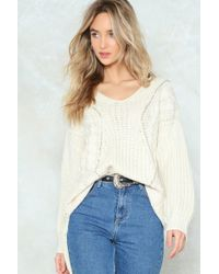 Nasty Gal - Had Knit Up To Here Cable Sweater - Lyst