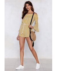Nasty Gal - Go Stripe Ahead Off-the-shoulder Romper - Lyst