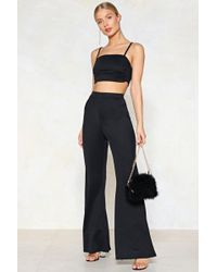 Nasty Gal - Take Two Pieces Crop Top And Flare Pants Set - Lyst