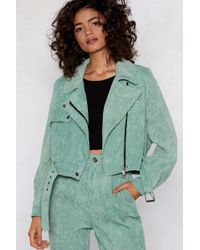 Nasty Gal - Play The Right Cords Moto Jacket - Lyst