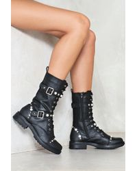 Nasty Gal - Pearl And Stud Buckle Lace Up Boot Pearl And Stud Buckle Lace Up Boot - Lyst