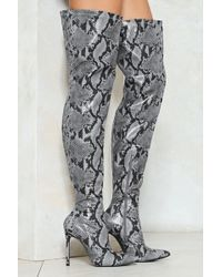 Nasty Gal - Grey Vegan Leather Snake Thigh High Boots Grey Vegan Leather Snake Thigh High Boots - Lyst