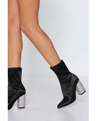 Nasty Gal - Get The Heel Of Things Diamante Sock Boot - Lyst