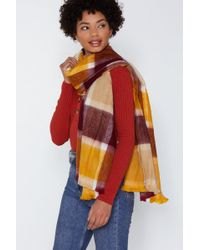 Nasty Gal - In The Wind Check Scarf - Lyst