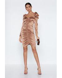 Nasty Gal - What My Ruche Satin Dress - Lyst