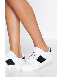 Nasty Gal - Run Off Your Feet Faux Leather Trainer - Lyst