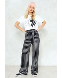 Nasty Gal - Stripe Belted High Waisted Trouser Stripe Belted High Waisted Trouser - Lyst