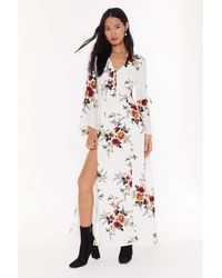 "Nasty Gal ""take The Flower Back Floral Maxi Dress"" - White"