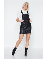 Nasty Gal - Call It A Night Faux Leather Pinafore Dress - Lyst