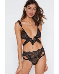93ade20ff07 Nasty Gal - Lace In Point Strappy Bralette And Panty Set - Lyst