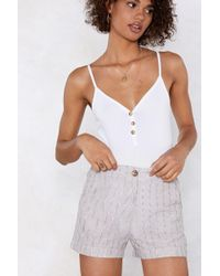 Nasty Gal - Stripe On Linen Shorts - Lyst