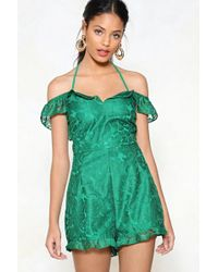 1fec37825e9 Nasty Gal - Greatest Lace Of All Cold Shoulder Romper - Lyst