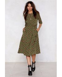 Nasty Gal - Take The Plaid With The Good Midi Dress - Lyst