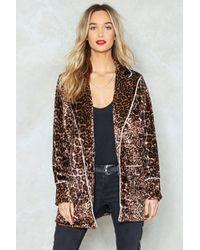 Nasty Gal - Leopard Print Velvet Jacket Leopard Print Velvet Jacket - Lyst