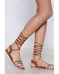 Nasty Gal - Get A Shoe Up Embellished Sandal - Lyst