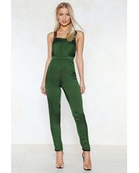 Nasty Gal - That's Just Shine Satin Overalls - Lyst