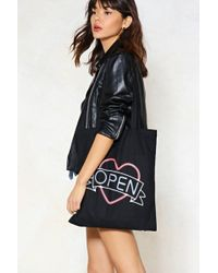 Nasty Gal - Open Up Neon Sign Tote Bag - Lyst