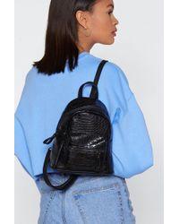 Nasty Gal - Black Croc Structured Mini Backpack - Lyst