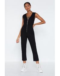 06a3566844f Lyst - Nasty Gal Paths That Cross Satin Jumpsuit in Brown