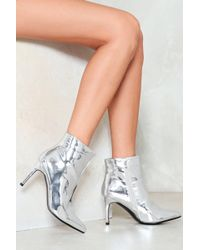 Nasty Gal - Silver Mirror Patent Ankle Boot Silver Mirror Patent Ankle Boot - Lyst