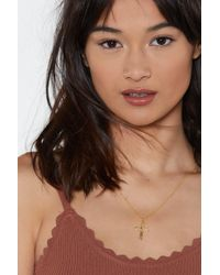 Nasty Gal - Cross My Mind Gold Plated Necklace - Lyst