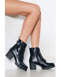 Nasty Gal | Cleated Sole Buckle Boot Cleated Sole Buckle Boot | Lyst