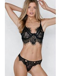 Nasty Gal - Go At My Lace Bralette And Panty Set - Lyst