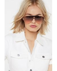 Nasty Gal - I'll See What I Can Do Smoke Aviator Sunglasses - Lyst