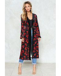 Nasty Gal | Velvet Longline Kimono In Floral Velvet Longline Kimono In Floral | Lyst