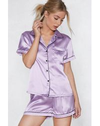 Nasty Gal - Satin Chilling Out Pajama Set - Lyst