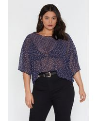 eb12605d61299 Lyst - Nasty Gal Flower Frenzy Lace Crop Top in Blue