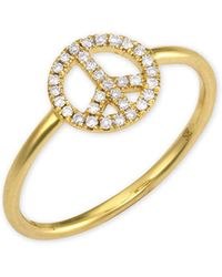 Sydney Evan - Micro Peace Sign Ring - Lyst
