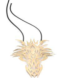 Natori - Josie Hammered Brass Dragon Head Necklace - Lyst