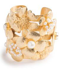 Natori - Josie Gold Brass Peony Bracelet - Lyst