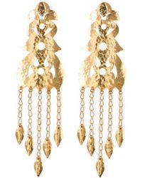 Natori - Hammered Gold Long Earrings - Lyst