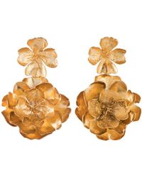 Natori - Josie Gold Brass Double Peony Earrings - Lyst