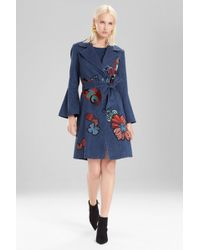 Natori - Josie Casual Twill Trench Coat With Embroidery - Lyst