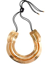 Natori - Hammered Gold Three Layer Necklace - Lyst