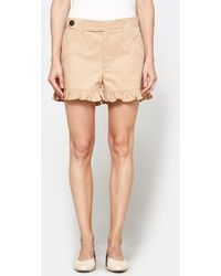 Ganni | Phillips Cotton Shorts In Cuban Sand | Lyst