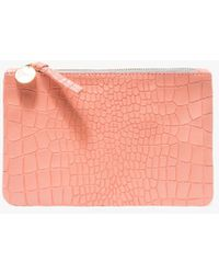 Clare V. - Wallet Clutch In Coral Croco - Lyst