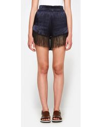 Ganni - Donnelly Satin Shorts In Total Eclipse - Lyst