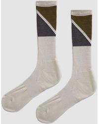 Anonymous Ism - Pennant Pile Crew Sock In Off White/grey - Lyst