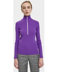Tibi - Tech Poly Track Zip Up Pullover - Lyst