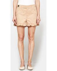 Ganni - Phillips Cotton Shorts In Cuban Sand - Lyst