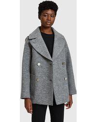 Proenza Schouler - Short Coat In Light Grey Melange - Lyst
