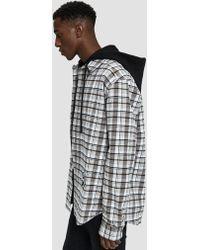 edd9c80adc2e Lyst - Off-White c o Virgil Abloh Frayed Plaid Cotton Hoodie Shirt ...
