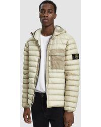Stone Island - Garment Dyed Micro Yarn Hooded Down Jacket - Lyst